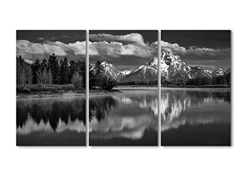 Mount Moran Snake River Grand Teton National Park water reflection - 3 Panels Wall Art Canvas stretched With Wooden Frame for Home Decor - Ready To Hang 20x28 Inches x 3 Panels Black and White