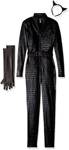 [Forplay Fierce Feline Ears, Mas, Jumpsuit, Belt, Gloves, Black, Medium/Large] (Feline Costumes)