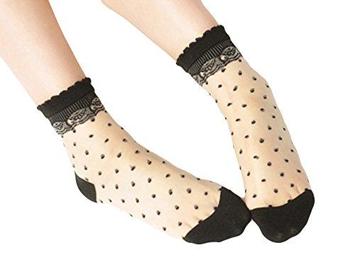 Qunson Women's Polka Dot Transparent Ankle Socks (Sheer Anklet)