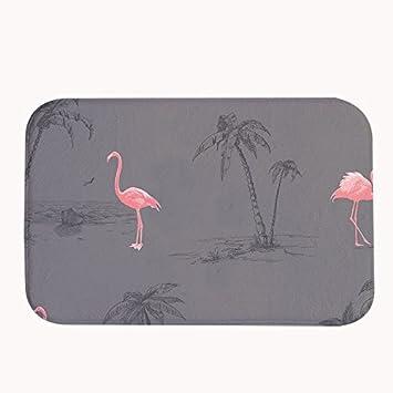 Amazon De Rioengnakg Pink Flamingos Grau Badteppich Coral Fleece