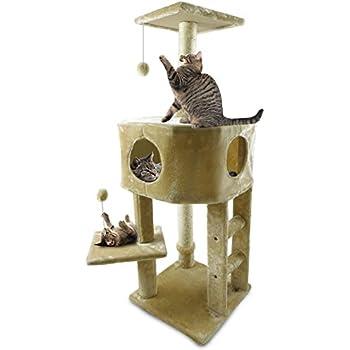 Furhaven Pet Tiger Tough Playground Treehouse, Cream