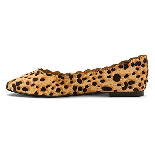 Athena Alexander Womens Taffy Closed Toe Ballet Flats, Leopard Fur, Size 5.0