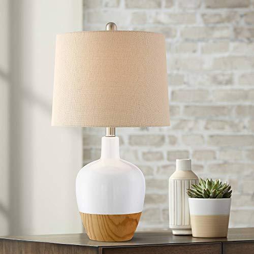 Kailani White Ceramic and Wood Modern Table Lamp - 360 Lighting