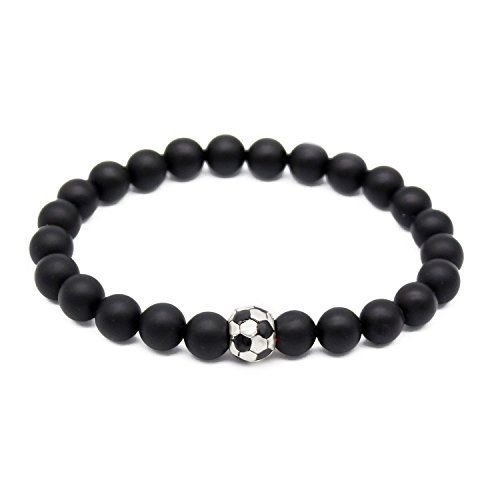 POSHFEEL Natural 8mm Black Matte Agate Stone Beaded Bracelet With Soccer Football Charm, 7.5'' -