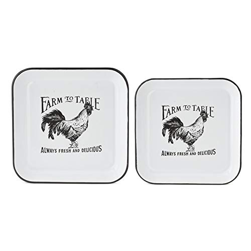 K&K Interiors Enameled Square Rooster Plates- Set of 2, White/Black