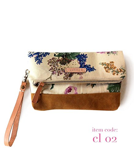 Borann Women Floral Monogram Canvas Clutch Handbag Purse Bridesmaid Gift Personalized Your Name (Handbag Suede Monogram)