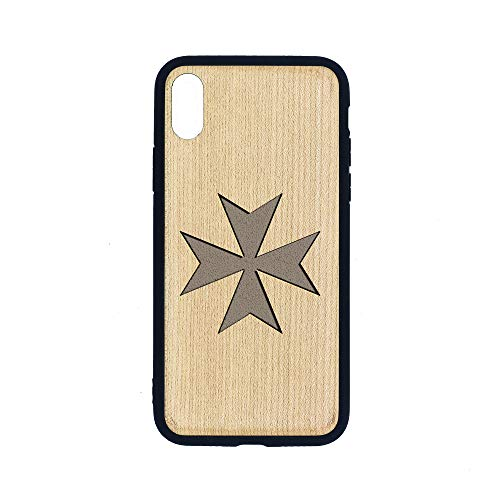 (Maltese Cross Silhouette - iPhone Xs MAX CASE - Maple Premium Slim & Lightweight Traveler Wooden Protective Phone CASE - Unique, Stylish & ECO-Friendly - Designed for iPhone Xs MAX )