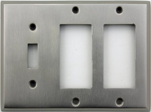 Classic Accents Stamped Steel Satin Nickel Three Gang Wall Plate - One Toggle Light Switch Opening Two GFI/Rocker Openings