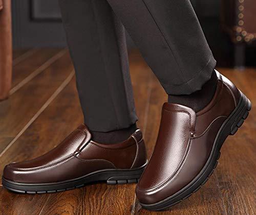 Zapatos para Zapatos Suave Hombres cómodos con Brown Suela de de Desgaste papá Casuales Resistentes Gruesa Antideslizantes Juegos Suela Zapatos para de de al Cuero Mediana Edad Koyi 6T7d6q