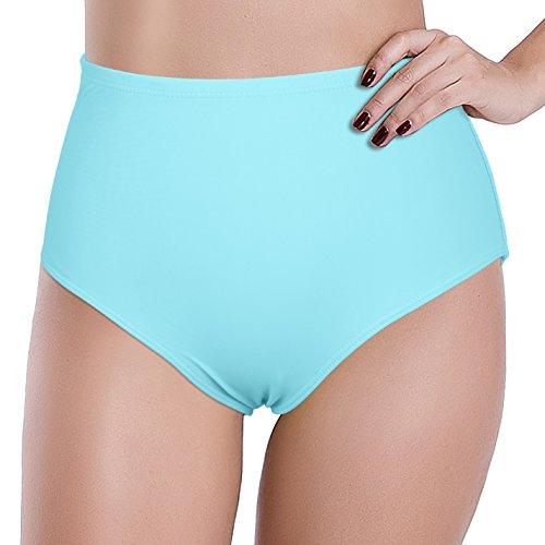 Reteron Women's High Waist Sexy Brazilian Swimsuit Bottom Pack of 2 (XS LABEL S, Black/Aqua Sky)