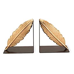 Foreside Gold Feather Book Ends (Set of 2)