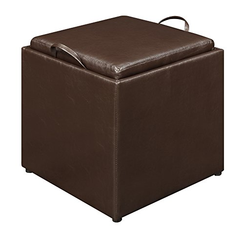 Convenience Concepts Designs4Comfort Park Avenue Single Ottoman with Stool, Dark ()
