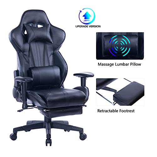Blue Whale Gaming Chair with Adjustable Massage Lumbar Pillow,Retractable Footrest and Headrest -Racing Ergonomic High-Back PU Leather Office Computer Executive Desk Chair 8239Black