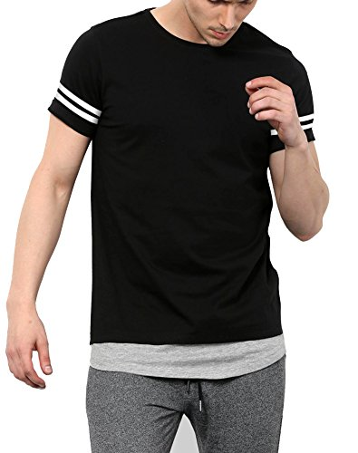 Maniac Men's Half Sleeve Stripes Round Neck Cotton Tshirt