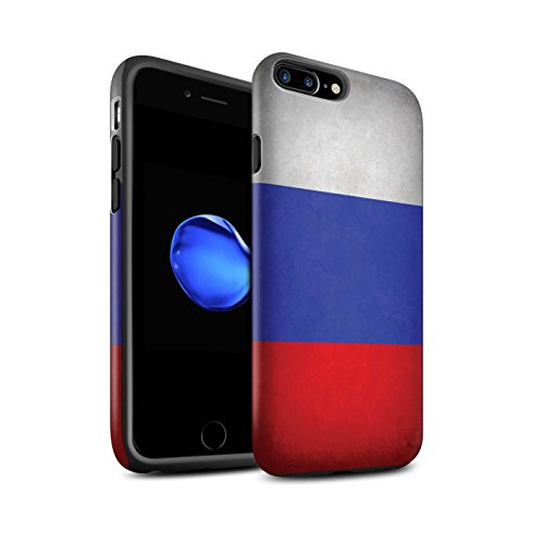STUFF4 Matte Tough Shock Proof Phone Case for Apple iPhone 8 Plus / Russia/Russian Design / Flags Collection