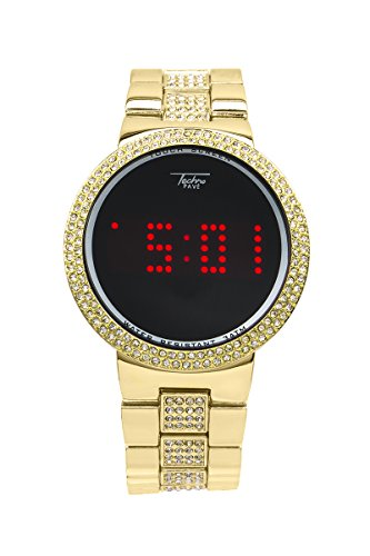 Techno Pave Techno Pave - Men's Partially Iced Out Metal Band with Touch Screen price tips cheap