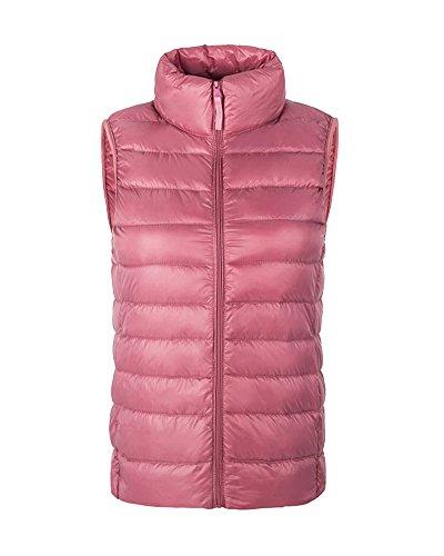 ZhuiKun Women Ladies Ultralight Down Vest Sleeveless Jacket Gilet Body Warmer Coat Pink