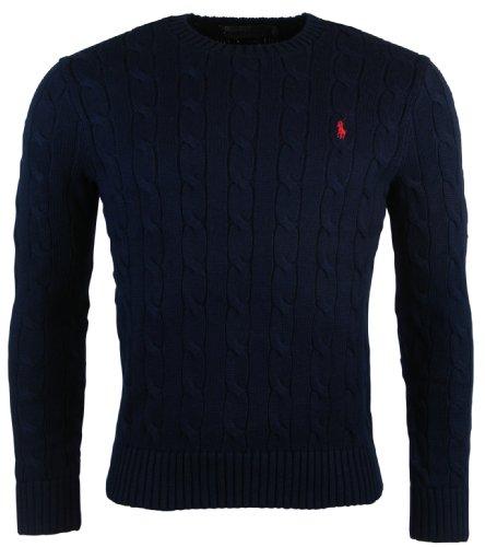 Polo Ralph Lauren Mens Cotton Crew Neck Cable Sweater - L - Navy (Polo Ralph Lauren Cotton Crewneck)