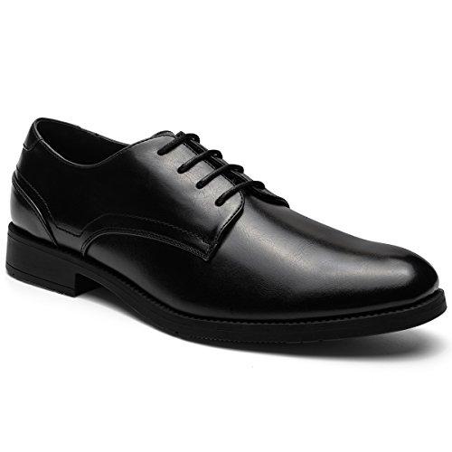 JOMEN Men's Leather Lined Dress Shoes Lace-up Plain Toe Formal Oxford Shoes Black 10 Black Leather Formal Shoe