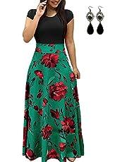 STTLZMC Casual Women's Plus Size Boho High Waist Floral Maxi Dress Short Sleeve