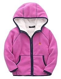 ZETA DIKES Kids Polar Fleece Jacket Hooded Long Sleeve Coat Zip up Outerwear 3-8T