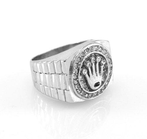 Hip-Hop Silver Tone King Crown Ring size 7