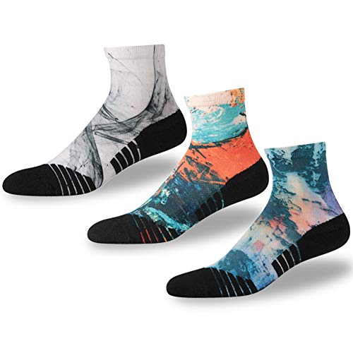 (NIcool Novelty Running Socks, Men's Fun Pattern Moisture Wicking Sports Cushion Tennis Hiking Mid Calf Ankle Socks, 3 Pairs, Multicolor )
