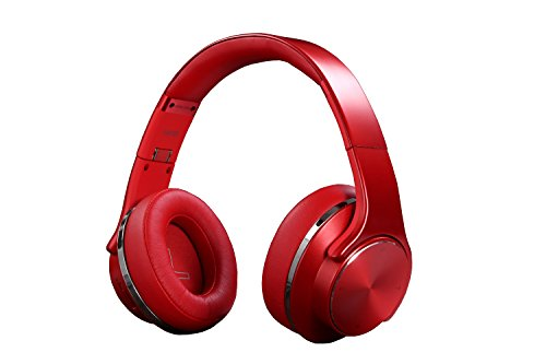 [Upgraded] Bluetooth Headphone Over Ear Two in One Hi-Fi Stereo Wireless Headsets & Speaker, Foldable & Most Comfort Fitting Design, Soft Protein Earmuffs, Built-in Mic, NFC, TF Card, FM Radio.(Red) ()