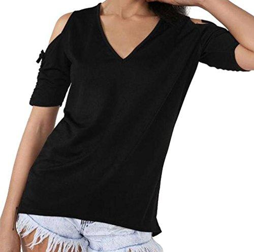 DINGANG - Camiseta - Manga corta - para mujer negro