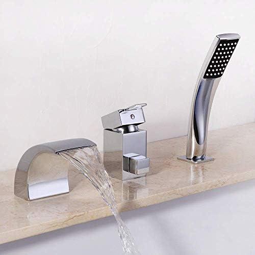 SYF-SYF 現代の銅ヨーロッパバスタブスプリット3穴の浴室の洗面台の蛇口の滝のホットとコールド2機能ハンドヘルドシャワーシステムシャワーは実用的な美しい設定します シャワー