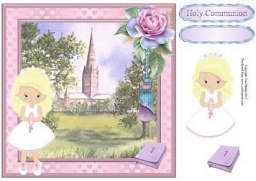 Primera Comunión niña (Rubio) tarjeta Topper y Decoupage por ...