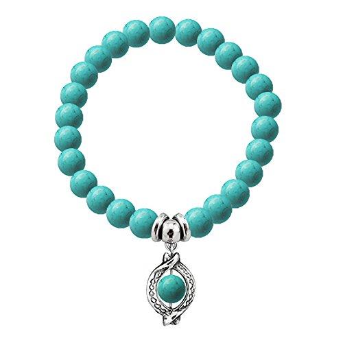 SHEEGIOR Snake Turquoise Bracelets for Women Men Love Accessories Handmade 8mm Beads Chain Charm Bracelet Friendship Jewelry - Snake Turquoise Bracelets