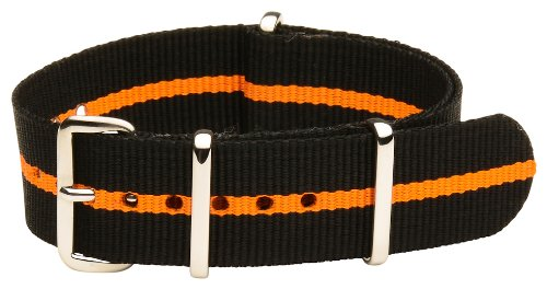 Clockwork Synergy Classic Nylon Nato watch straps bands (18mm, Black / Orange) (Mens Black Multi Band)