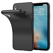 iPhone X Case, Luvvitt Ultra Slim iPhone X Case with Soft Feel Flexible and Easy Grip TPU Rubber Back for iPhone X 10 (2017) - Matte Black