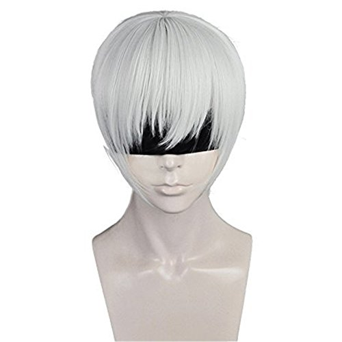 Anogol Hair Cap+Boys Cosplay Wig Silver White Short Straight Hair Halleween Wigs Costume Fancy Dress