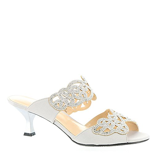 (J. Renee Women's Francie Dress Slide,Silver Satin/Rhinestones,US 11 M)