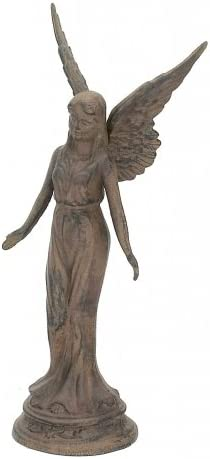 Majestic Angel Statue Cast Iron Rust Finish