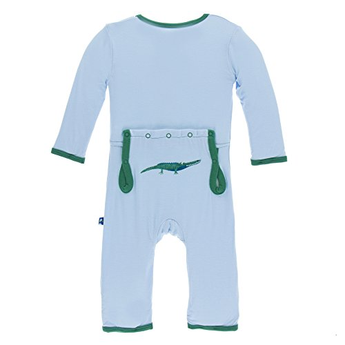 KicKee Pants Little Boys Applique Coverall with Zipper - Pond Crocodile, 2T -