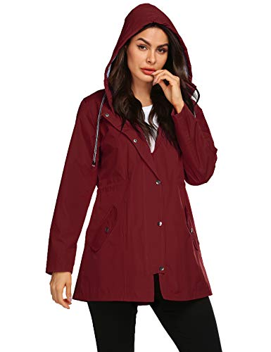Women All Weather Jacket Long Trench Coats for Women Zip Up Rain Jacket Quick-Drying Womens Raincoat Wind Red M