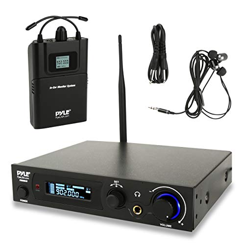 (in-Ear Wireless Monitor and Receiver System- UHF Selectable Audio Frequency Kit, Adjustable TNC Antenna for Extended Range, and IEM Beltpack Transmitter with Selectable Audio Frequency- Pyle PDWMN49)