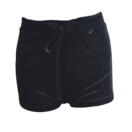 Pantaloni velluto donna alta moda hot Fletion estate corti pants Pantaloncini Velvet elasticizzato Sexy Shorts coulisse vita in Nero nRqIxxwdtp