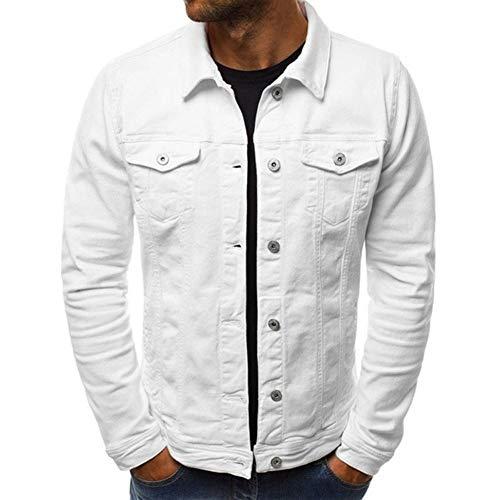 Men Fashion Button Down Trucker Vintage Denim Jacket Autumn Winter Coat (White, XXX-L(US ()