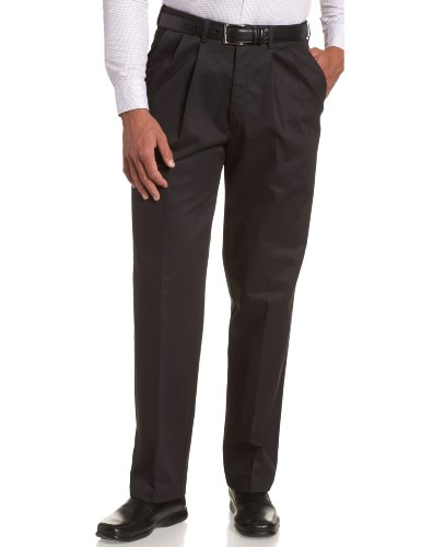 (Haggar Men's Work To Weekend Khakis Hidden Expandable Waist No Iron Pleat Front Pant,Navy,40x30)