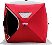 Flousher Ice Fishing Shelter Tent 3-Person Pop Up House Portable Outdoor Fish Equipment 300D Oxford Fabric Ice
