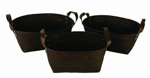 Wald Imports Brown Seagrass  Decorative Storage Baskets, Set of 3