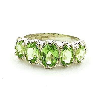 925 Sterling Silver Real Genuine Peridot Womens Band Ring