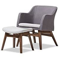 Baxton Studio Naudia Mid-Century Modern Two-Tone Grey Fabric Lounge Chair and Ottoman Set, Chair, Grey/Walnut Brown