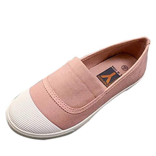 Binying Casual Slip on Women's Pink Sneakers Canvas rwAqr6