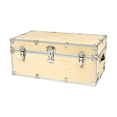 """Naked Large Trunk Unfinished with Genuine Leather Handles in Rustic Style for Storage Case- 14"""" H x 32"""" W x 18"""" D"""