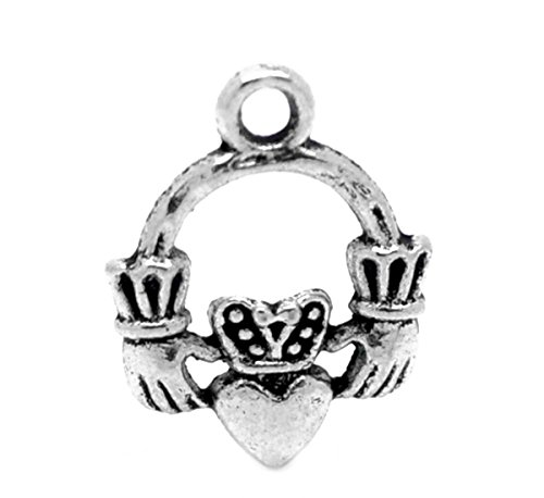 "Housweety 30PCs Silver Tone Claddagh Ring Charm Pendants 18x14mm(6/8""x 4/8"")"